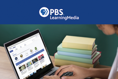 A generic image of someone on a laptop with PBS LearningMedia at the top