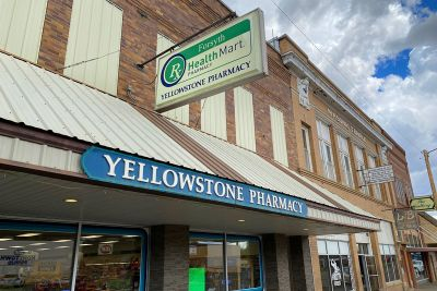 A picture of Yellowstone Pharmacy on Main Street in Forsyth, Montana.