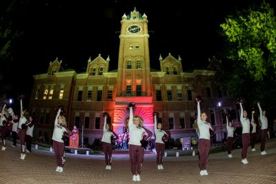 The UM dance team in front of Main Hall
