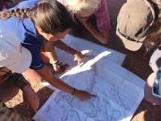 Bella looking at a map
