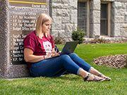 student studing outside