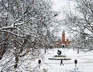 Campus in snow