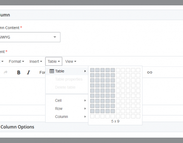 Screenshot of the table builder in Cascade