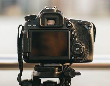 Back of camera on a tripod