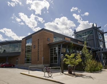 Wide angle shot of the Campus Rec Center at the University of Montana
