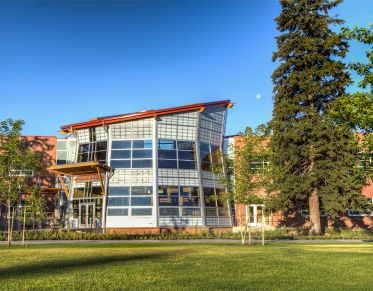 Payne Family Native American Center from the Oval at the University of Montana