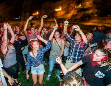 Students dancing during a silent disco event