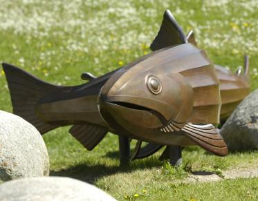 Metal fish statue at Caras Park