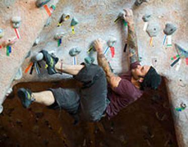 someone rock-climbing