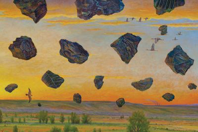 Monte Dolack artwork that shows rocks falling from the sky