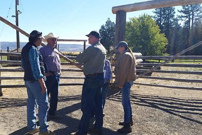 Five ranchers stand in a circle talking