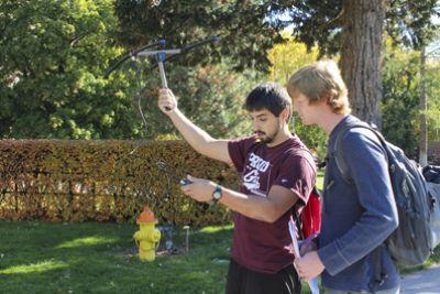 UM wildlife biology students practice telemetry on campus.