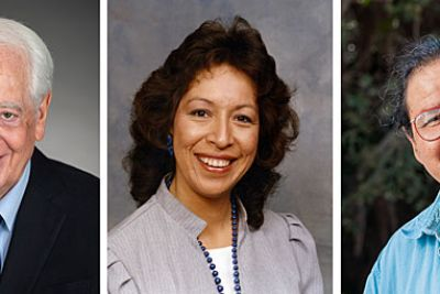 Three people sit for headshots: an elderly white male, an American Indian woman and an American Indian male