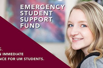 A graphic with a female student for the emergency fund