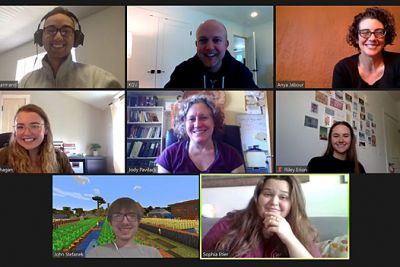 An image of eight UM students and faculty members in a Zoom session