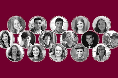 A graphic showing the faces of the many of the student scholarship winners