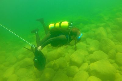 Photo of diver in Flathead Lake