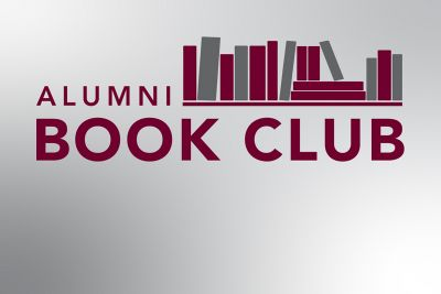 This is a maroon and grey graphic with a pile of books on it that says Alumni Book Club