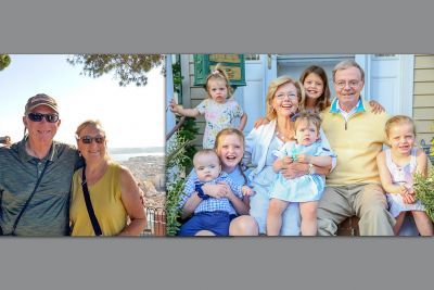 Two photos: In the photo on the left, a man and a woman in their sixties stand on a balcony with the overlook of a city down below. In the next photo, a man and woman around the same age are surrounded by six young grandchildren and are smiling.