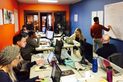 Students study during a coding boot camp at UM.