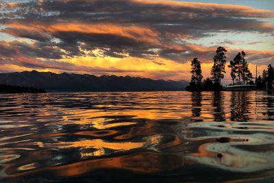 A sunset photo of Flathead Lake.