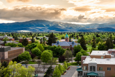 Looking southwest over the University of Montana campus and Main Hall