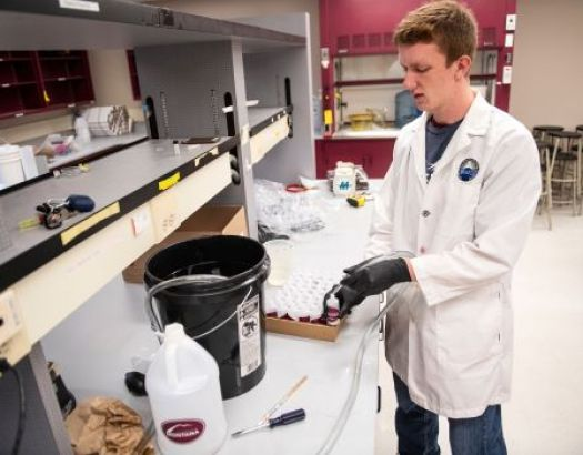 Photo of a student working in lab.