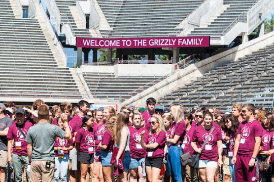 Student gather for orientation welcome in Washington Grizzly Stadium 2019