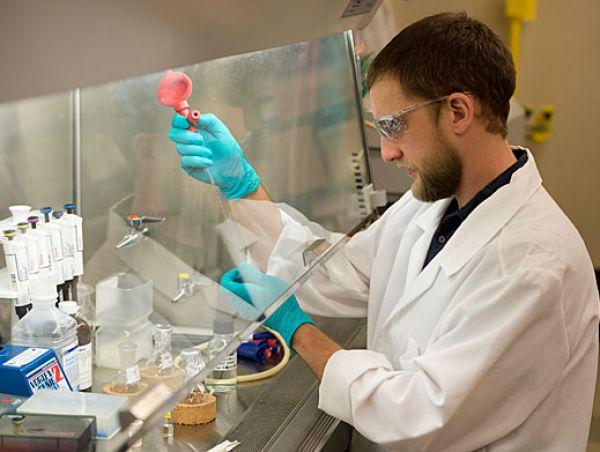 Kris Short in a lab