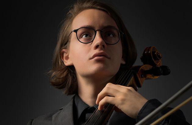 David Harmsworth, a UM rising senior and cello performance major, with his cello