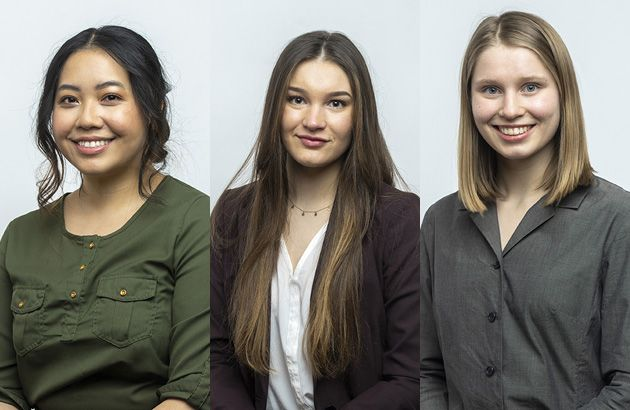 Three UM students named Truman Scholar Finalists pose for headshots. From left: Gold Moua, Augusta Reinhart, Lindsey Roosa