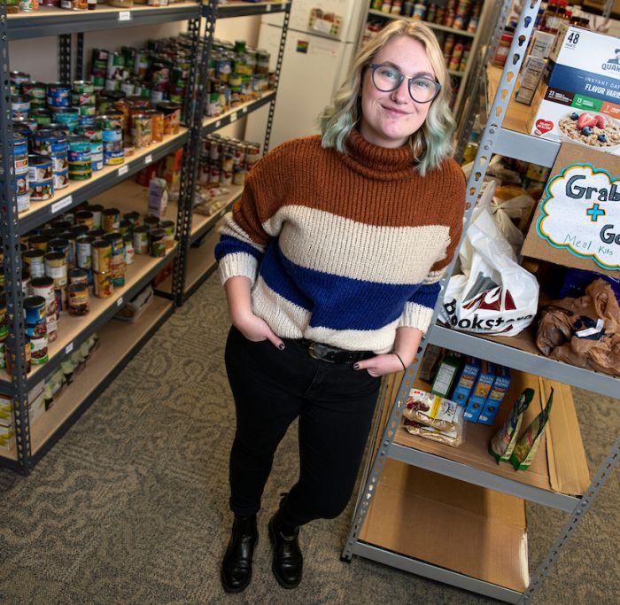 Kat in UM's food pantry