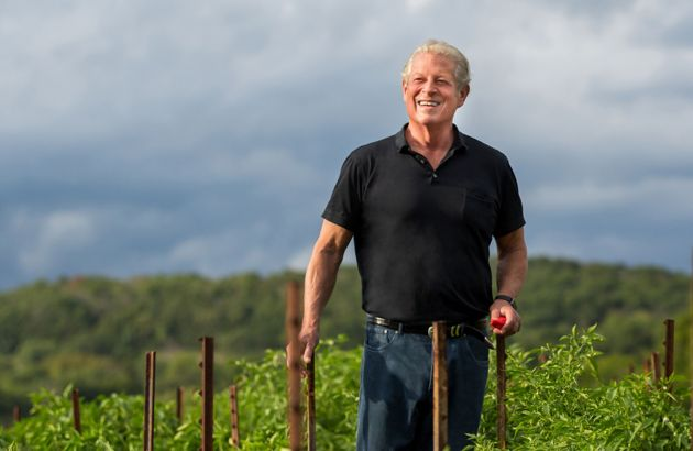 Al Gore stands in a field and smiles into the distance