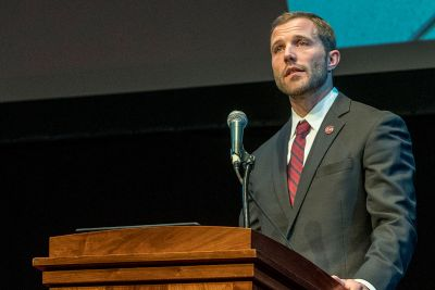 UM President Seth Bodnar speaks at the 2019 address.