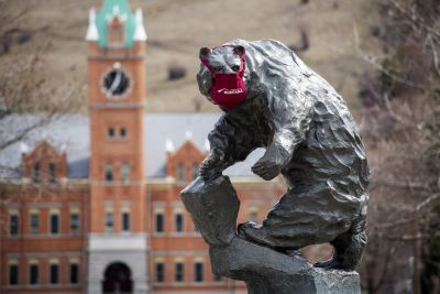 A picture of the Grizzly Bear statue on the Oval wearing a mask.