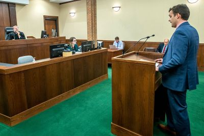 Rob Joki, a recent bankruptcy clinic student and UM law graduate, presents in Judge Benjamin Hursh's courtroom.