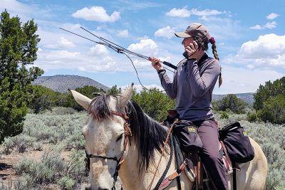 Nicole Bealer on horseback